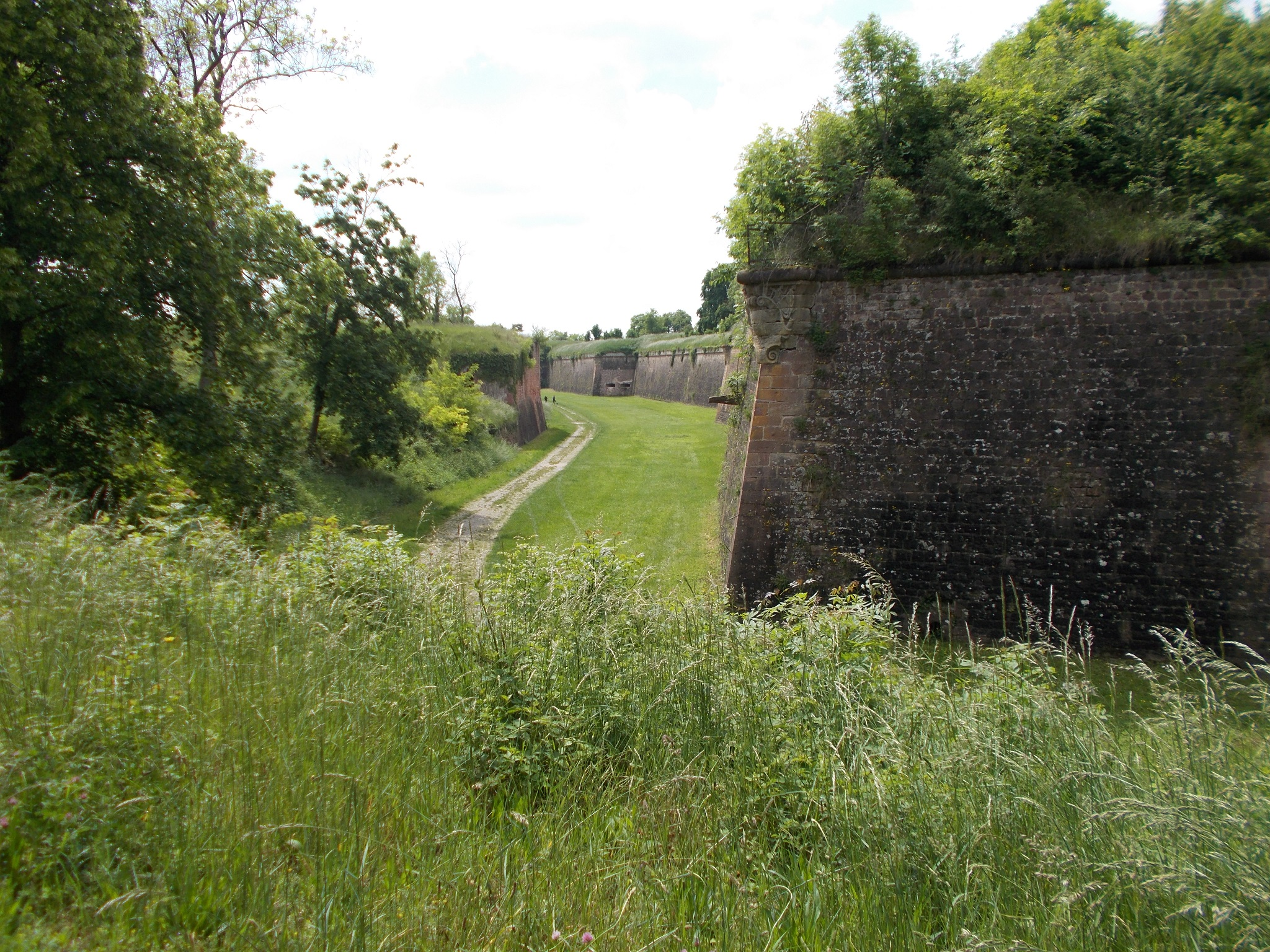 Large brick fortification walls with a grass filled ditch between them. Deep grass in the foreground. Taken in Neuf-Brisach, France.